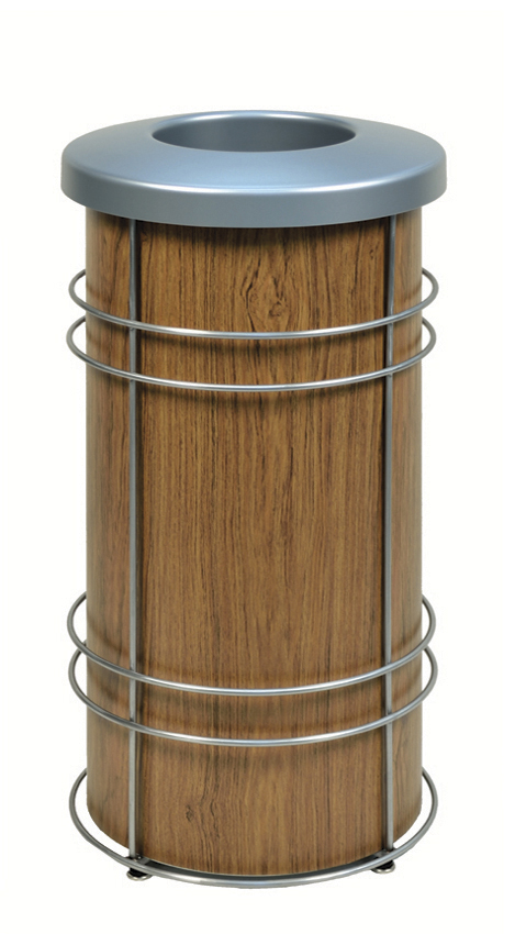 DeepStream Designs Trash Bin with Wood Graphics
