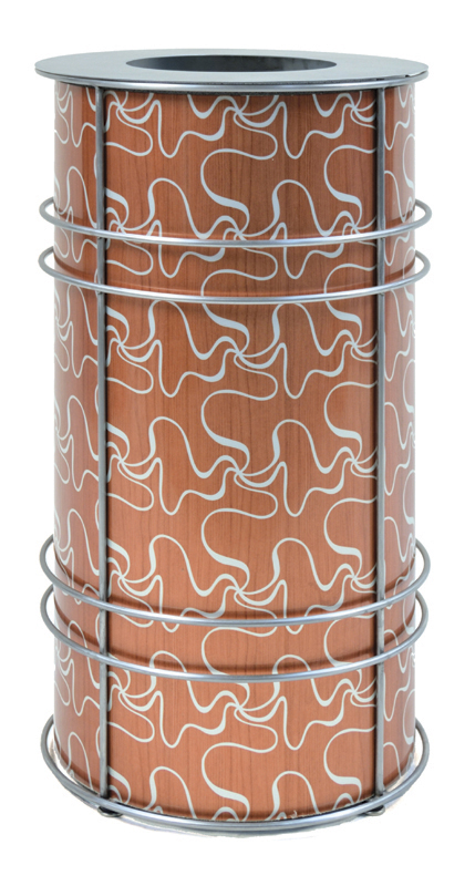 """DeepStream Designs' Chameleon Modern Recycling and Trash Receptacles with CrossSway aluminum graphics inside a stainless steel frame with adjustable feet housing a leak proof removable recycled plastic liner with a 9"""" stainless museum lid"""