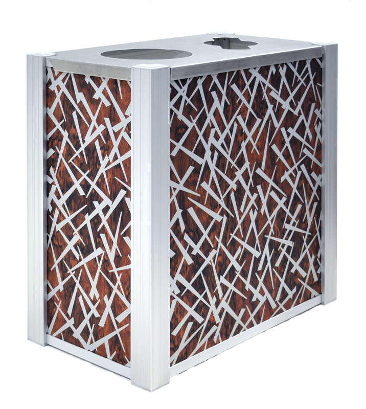 DeepStream Designs' Modern Audubon Recycling and Trash Receptacles with Chopstix aluminum graphics inside a marine anodized aluminum frame housing 2 leak proof removable recycled plastic liner with a 16-gauge 316 stainless steel hinged lid