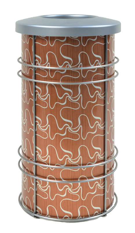 """DeepStream Designs' Chameleon Modern Recycling and Trash Receptacles with CrossSway aluminum graphics inside a stainless steel frame with adjustable feet housing a leak proof removable recycled plastic liner with a 9""""Kydex lid"""
