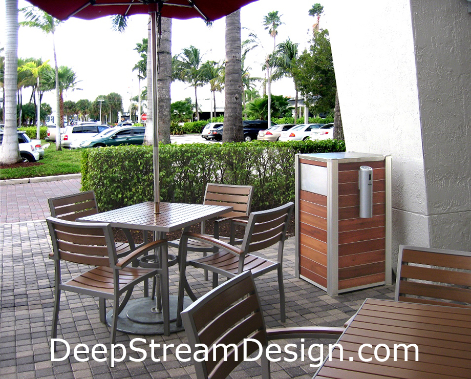 Outdoor Wood Trash Receptacle or Recycling Bin with Smokers Outpost in the outdoor smoking section of a restaurant