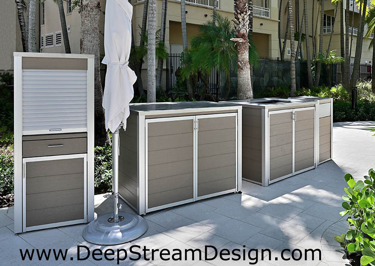A suite of outdoor custom fixtures at a tropical waterpark made with weatherproof recycled plastic lumber