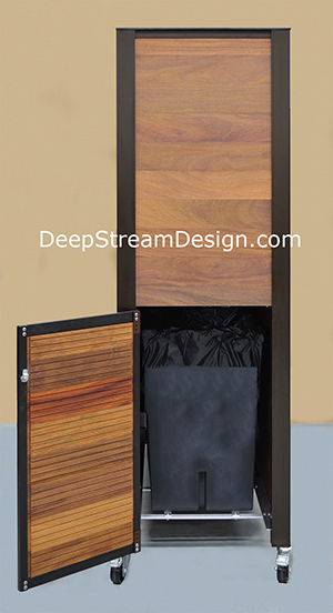 Custom Hotel Pool Towel Cabinet hides two waterproof bins inside accessed through this side door