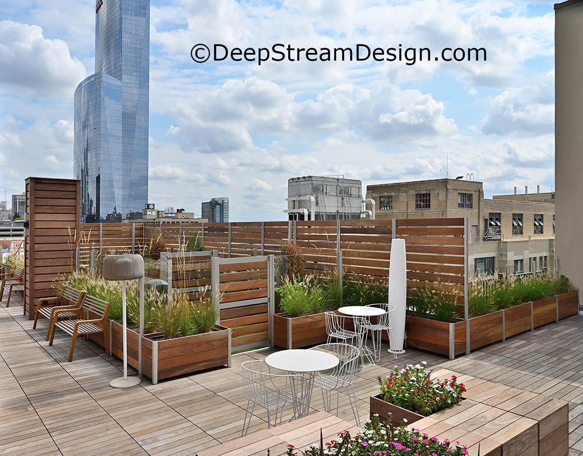 DeepStream's trademark aluminum conserves wood by making even complex structures liket planter anchored screen wall last decades