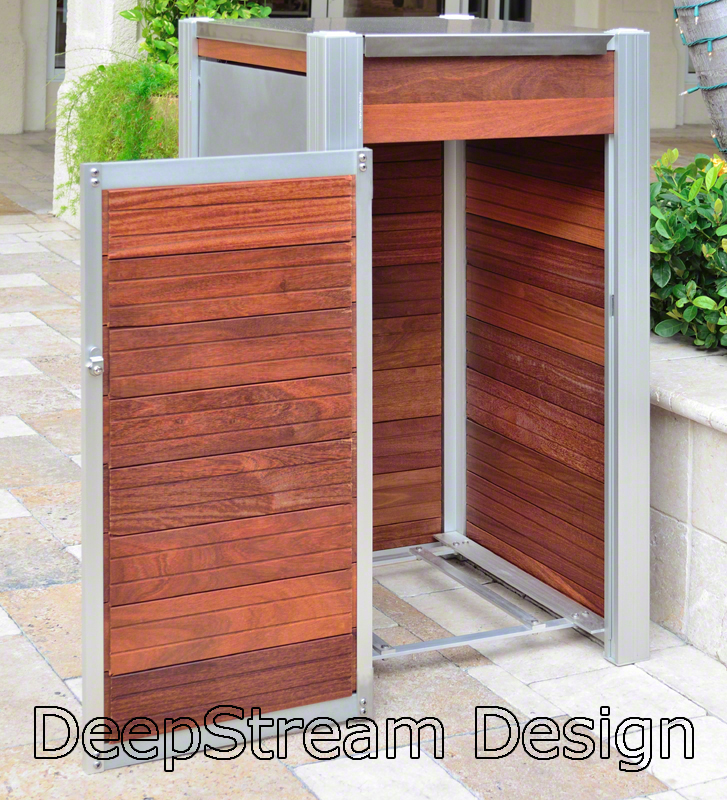 Wood Trash Receptacle with an open aluminum grid that supports the hygenic inner bin give pests and dirt no place to hide