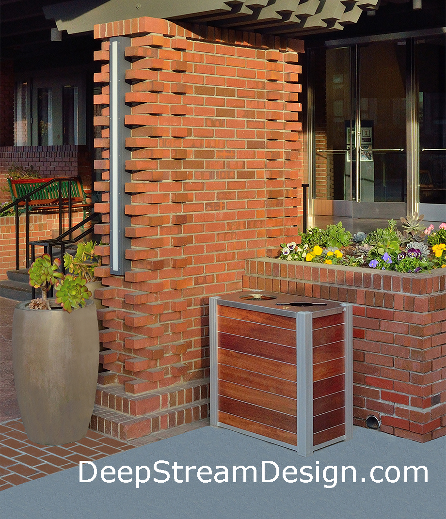 Deepstream modern wood recycling recycling receptacle with trash bin