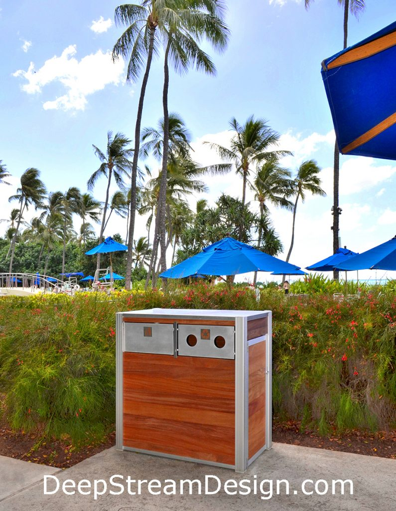 Combination Wood Trash Receptacle and Recycling Bin for bottles and cans oceanfront in Hawaii