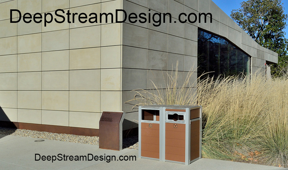 OPUS Modern Combination Trash Receptacle and Recycling Bin outdoors on a hospital grounds