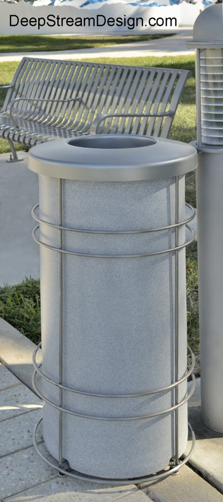 "DeepStream Designs' Nautique Recycling and Trash Bins with a rugged weatherproof inner bin inside a stainless steel frame with adjustable feet housing a leak proof removable recycled plastic liner with a 9"" UV resistant polypropylene lid"