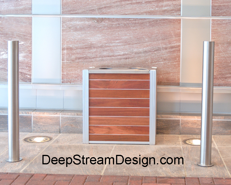 DeepStream's Audubon modern commercial recycling  and trash receptacle