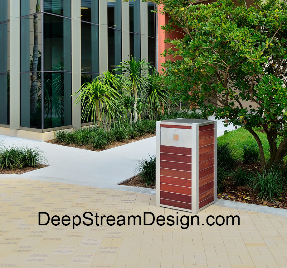 Simple elegance of the OPUS Wood Trash Receptacle with aluminum push flap