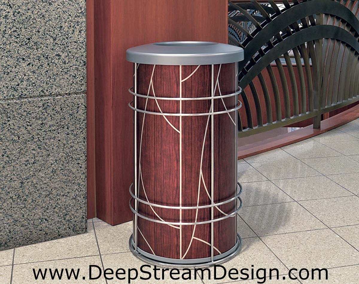 "DeepStream Designs Modern Trash Bin with ""Tree"" Graphics at Adventura Hospital"