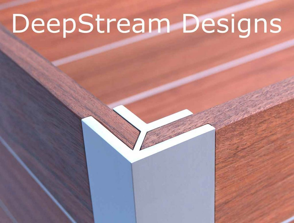 DeepStream Design's trademark marine anodized aluminum leg extrusions