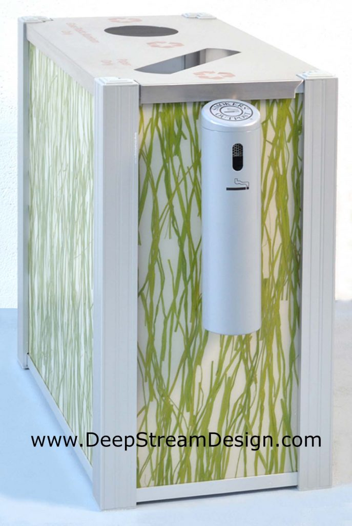 DeepStream 3form Seaweed modern Double Recycle Bin with grey Smokers Outpost option