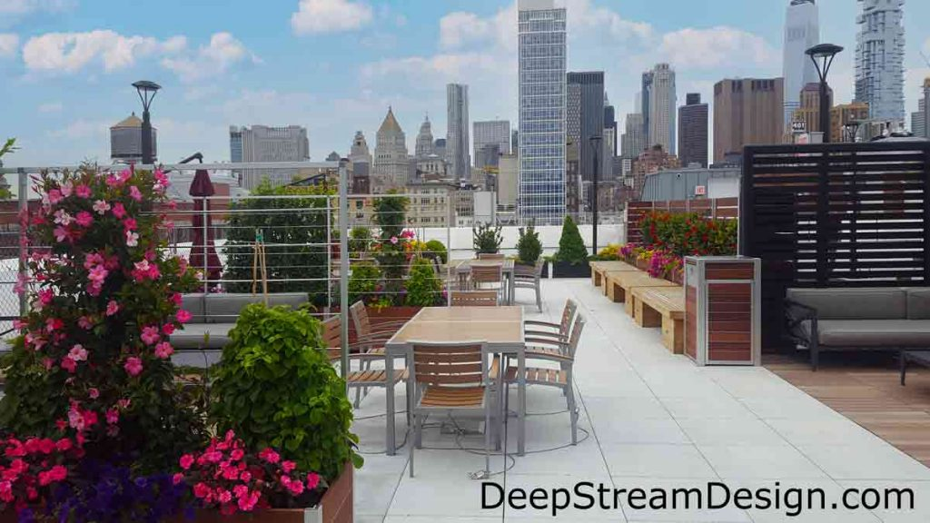 For more information on how you can use wood garden planters with trellis and privacy screen create a modern rooftop patio see DeepStream's solutions website