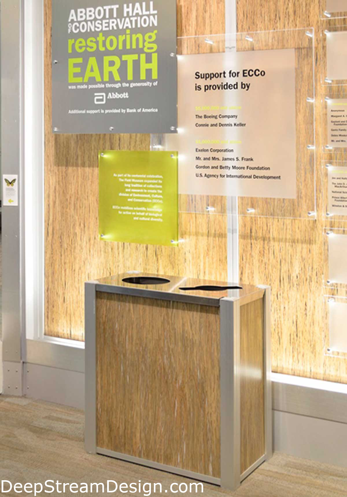 DeepStream Audubon Combination Recycling and Trash Receptacle with 3form Eco-resin Panels at Chicago's Field Museum