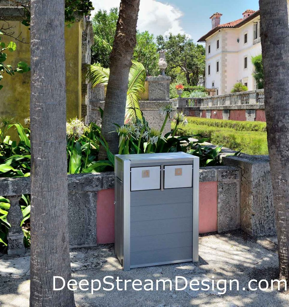 Click for more info on DeepStream's modern commercial combination recycling and trash receptacle crafted with maintenance free weatherproof recycled plastic lumber and anodized aluminum, no paint or powder coating to fail pictured on the waterfront of Miami's historic Vizcaya Mansion.