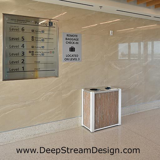 DeepStream modern combination recycling receptacle and trash bin with 3form Varia Thatch resin panels in the parking elevator lobby